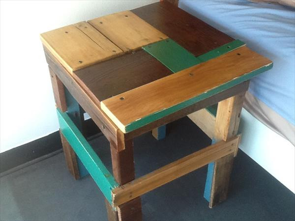 reclaimed pallet stool and side table