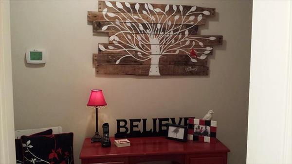 recycled pallet tree wall art