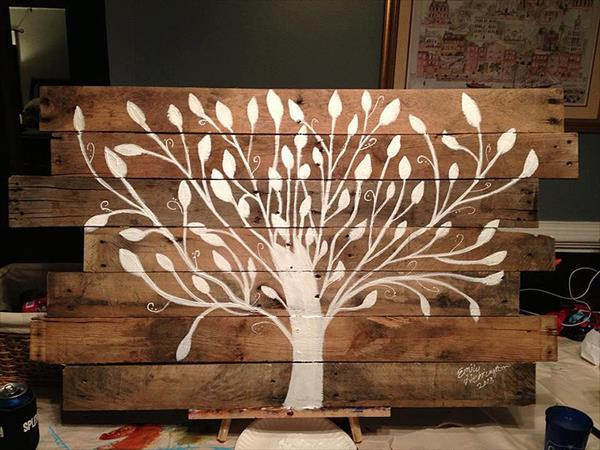 reclaimed pallet tree wall art