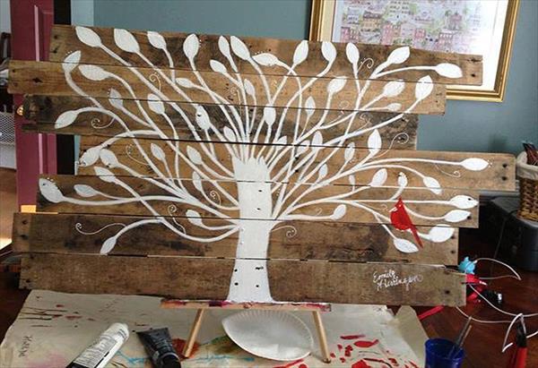 diy pallet tree wall art