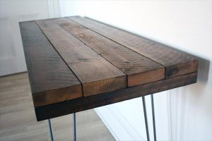 Wood Industrial Console Table with Steel Hairpin Legs