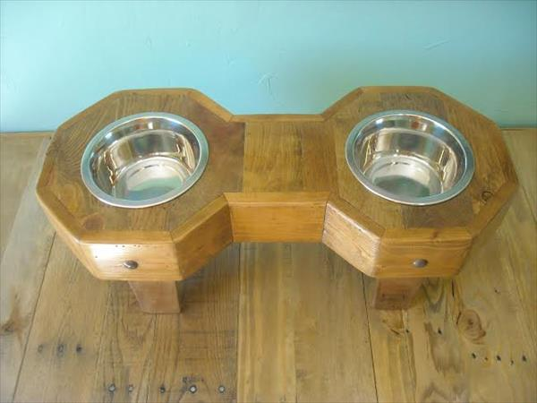 recycled pallet bone shape dog bowl holder