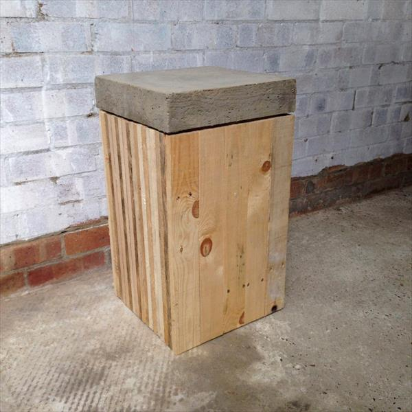 upcycled pallet concrete stool