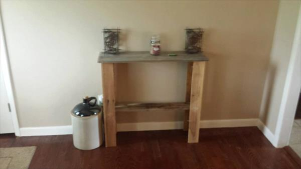 diy pallet wood entry way table