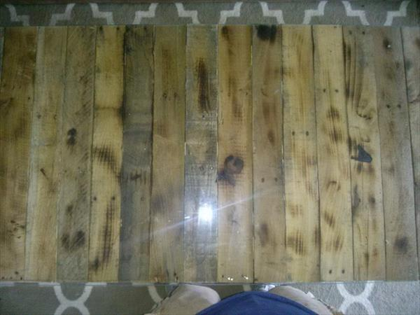 reused pallet long topped coffee table