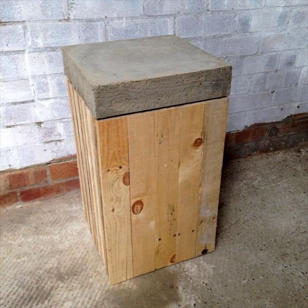 recycled pallet concrete stool