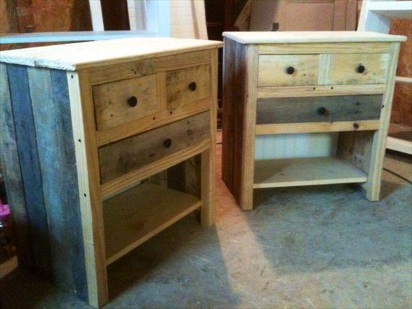 recycled pallet nightstands