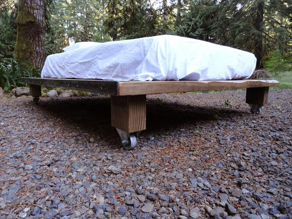 upcycled pallet platform bed