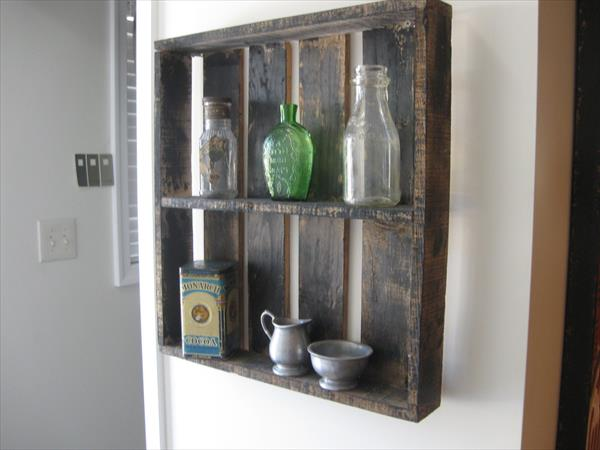 recycled pallet rustic shelves