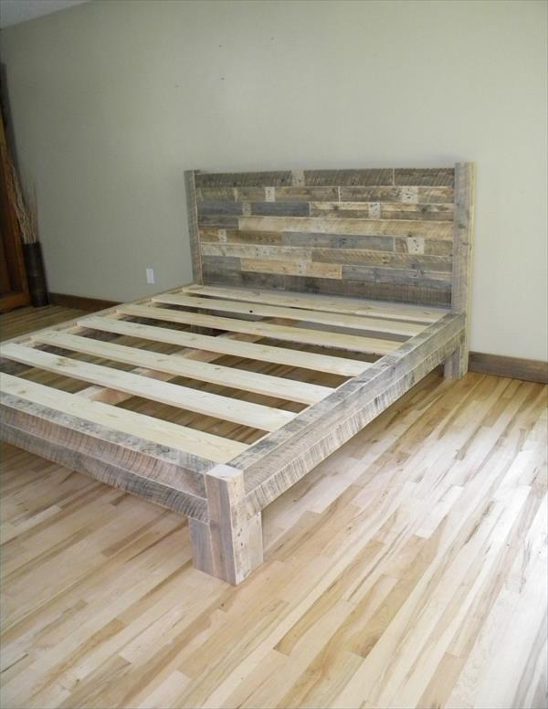 resurrected pallet bed frame