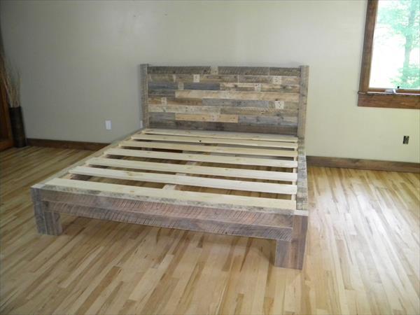 diy wooden pallet bed frame
