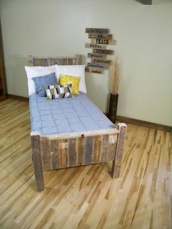 handcrafted pallet bed with headboard
