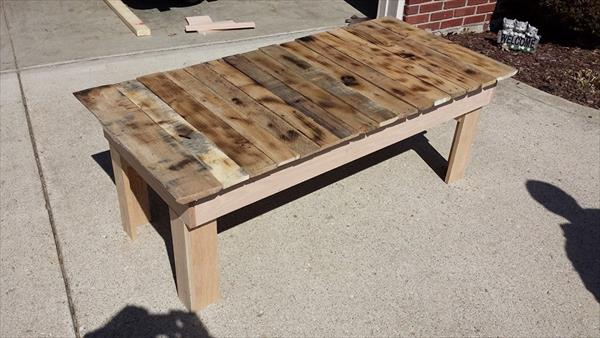 reclaimed pallet long topped coffee table