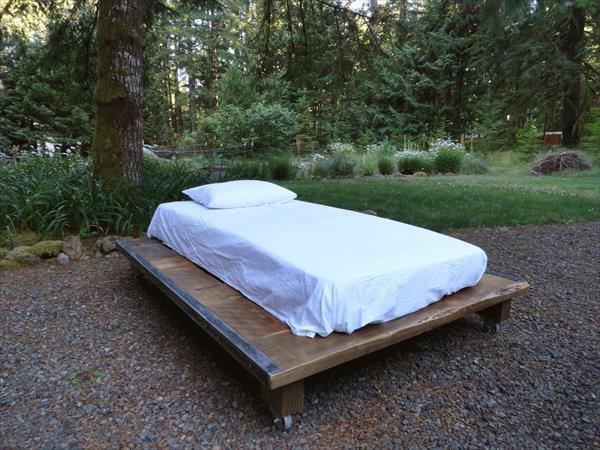 handcrafted pallet platform bed