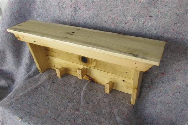 repurposed pallet shelf and coat rack