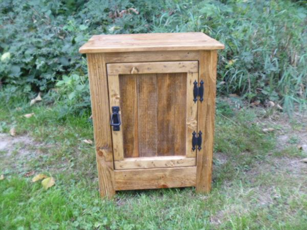 repurposed pallet nightstand and floor cabinet