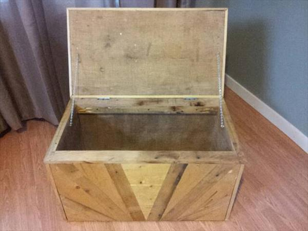 reused pallet toy chest
