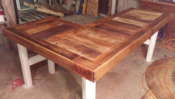 Recycled Pallet L Shaped Desk