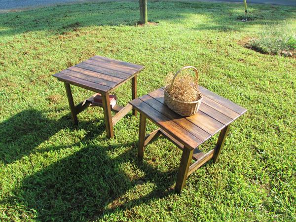 handcrafted pallet end tables