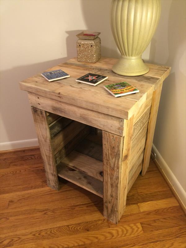 Diy pallet bedside table pallet furniture plans for Pallet furniture projects
