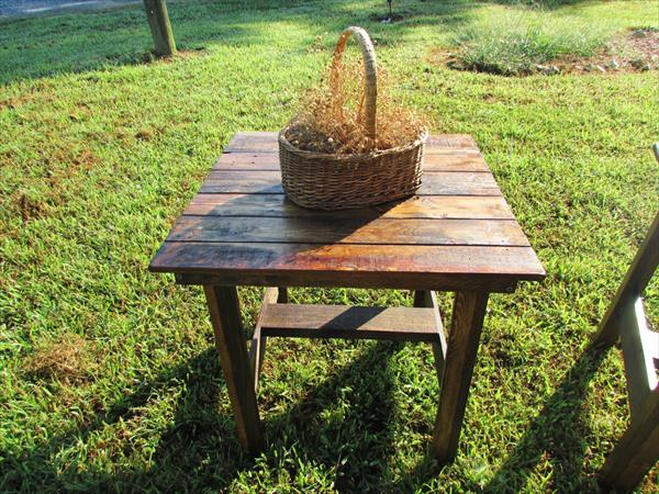 resurrected pallet side tables