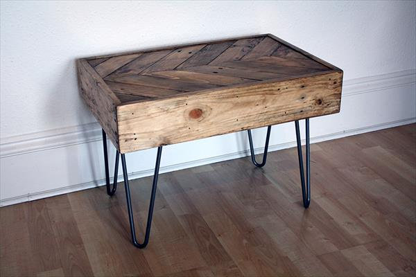 recycled pallet chevron side table