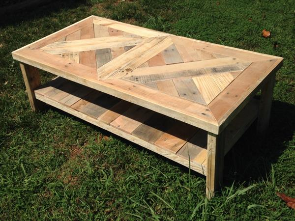 Chevron Pallet Coffee Table raised pallet coffee table | pallet furniture plans