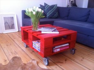 DIY Red Pallet Coffee Table with Storage