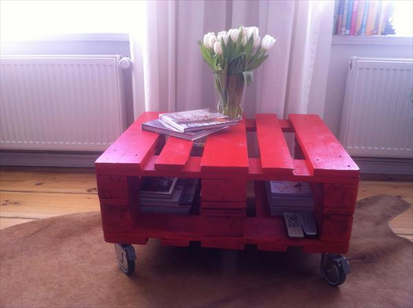 handmade pallet red coffee table