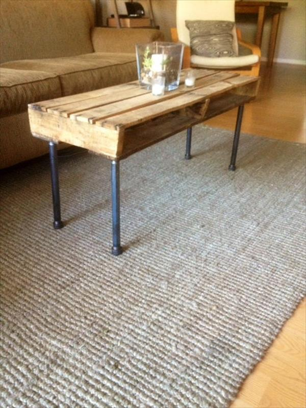 upcycled pallet and iron pipe coffee table
