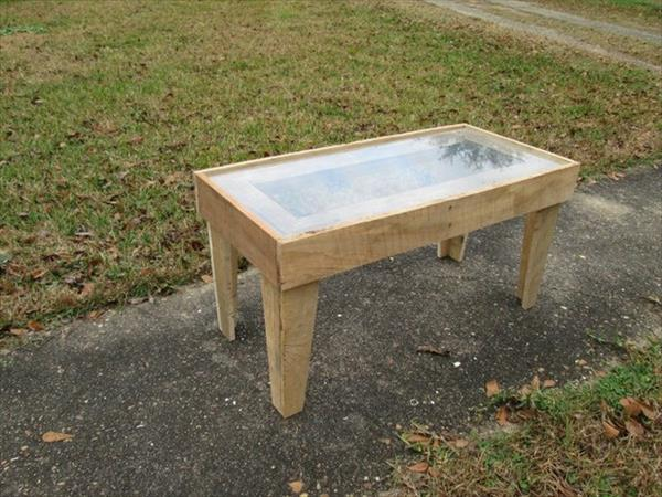handmade pallet coffee table with glass top