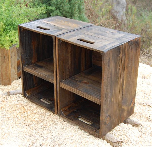 Diy pallet crate side tables pallet furniture plans Wooden crates furniture