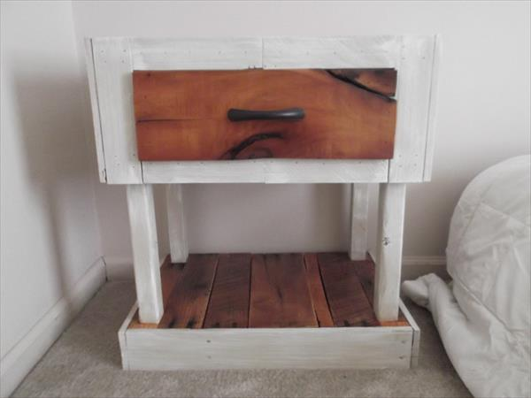 reclaimed pallet nightstand with storage drawer