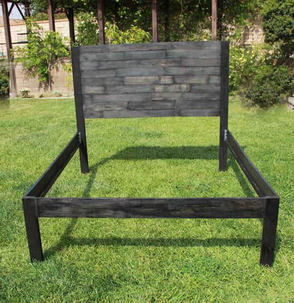 handcrafted pallet side bed frame