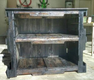 recycled pallet shelving and storage unit