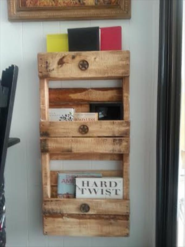 repurposed pallet wall shelf with 3 levels