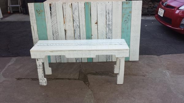 upcycled pallet white bench