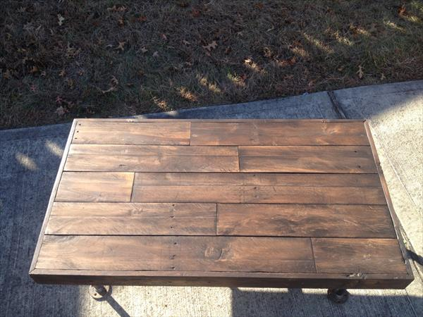 repurposed pallet and iron pipe coffee table