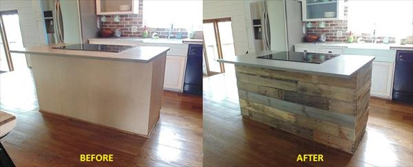 Diy rustic pallet wall paneling pallet furniture plans for Costruire isola cucina