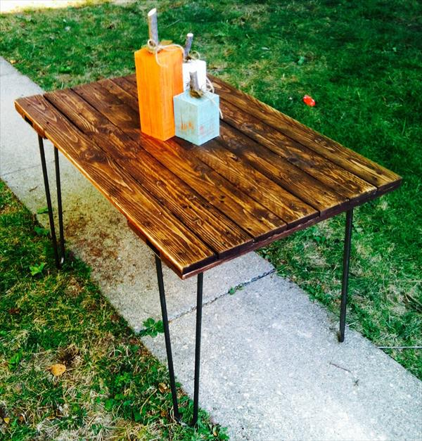handmade pallet and metal table