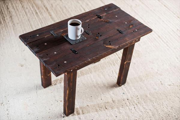 upcycled scorched pallet wood coffee table