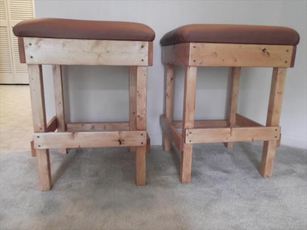 handmade pallet faux leather cushioned stools