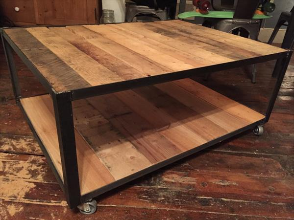 repurposed pallet and metal coffee table