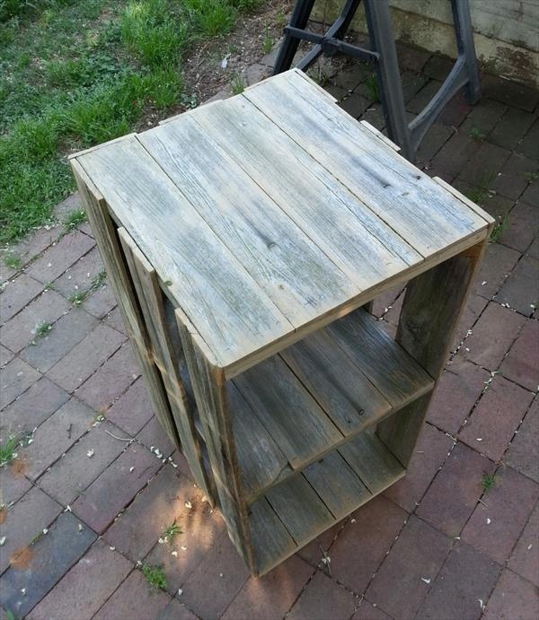 upcycled pallet crate shelf and box