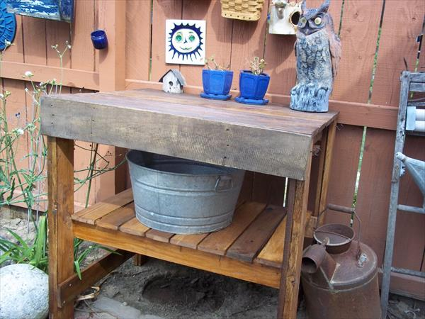 upcycled pallet garden bench with shelf