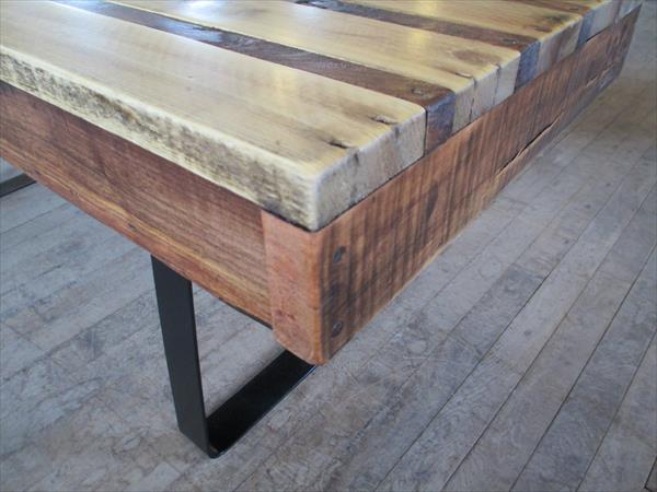 reclaimed pallet table with steel flat legsa