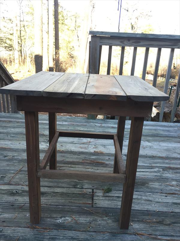 homemade rustic pallet end table