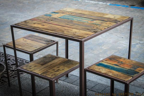 recycled pallet and metal coffee tables