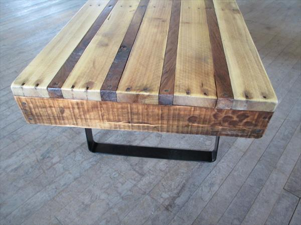 upcycled pallet industrial metal table
