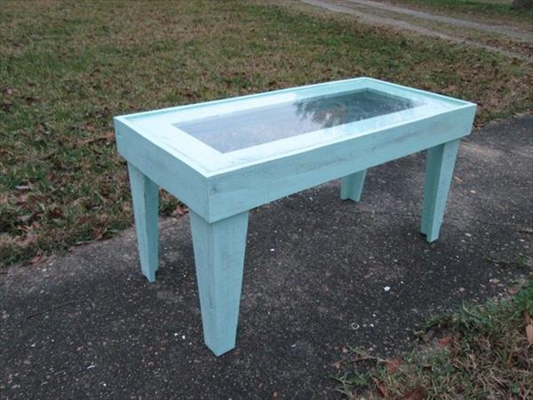 hand painted pallet coffee table with glass top